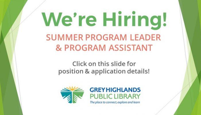 We're Hiring: Summer Program Leader Slider